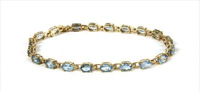Lot 33-A gold aquamarine line bracelet