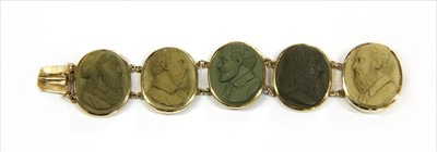 Lot 3-A gilt metal lava cameo bracelet