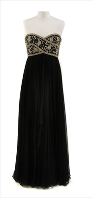 Lot 100 - A Marchesa black empire line full-length dress