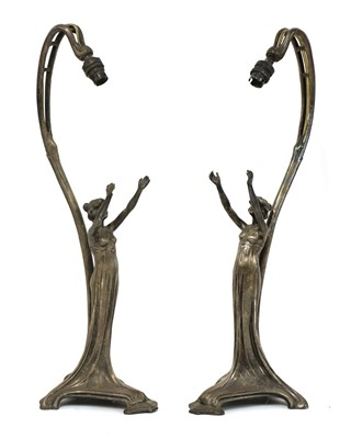 Lot 77 - A pair of WMF silver-plated figural table lamps