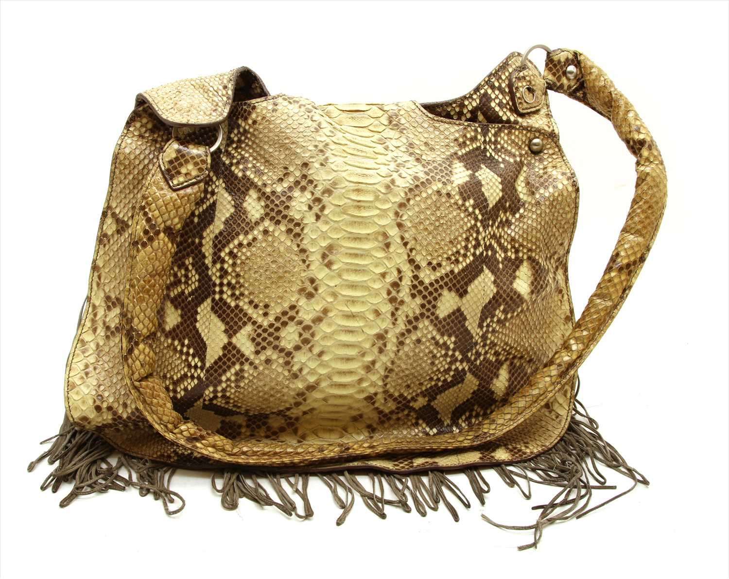 Lot 1017-A Ziglaini python skin hobo shoulder bag