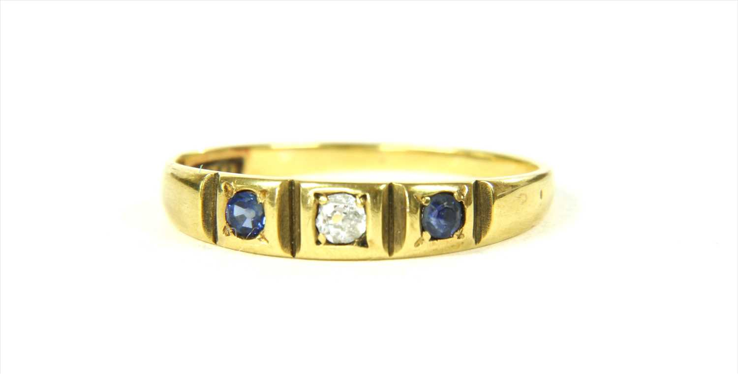 Lot 16-A gold sapphire and diamond ring