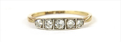 Lot 20-A gold five stone diamond ring