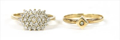 Lot 44-A 9ct gold diamond cluster ring