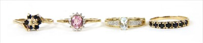 Lot 40-Four 9ct gold rings