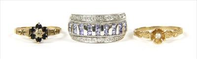Lot 48-Three 9ct gold rings
