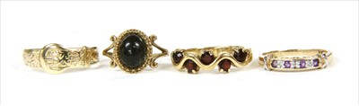 Lot 43-Four 9ct gold rings