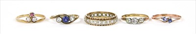 Lot 27-Five gold rings