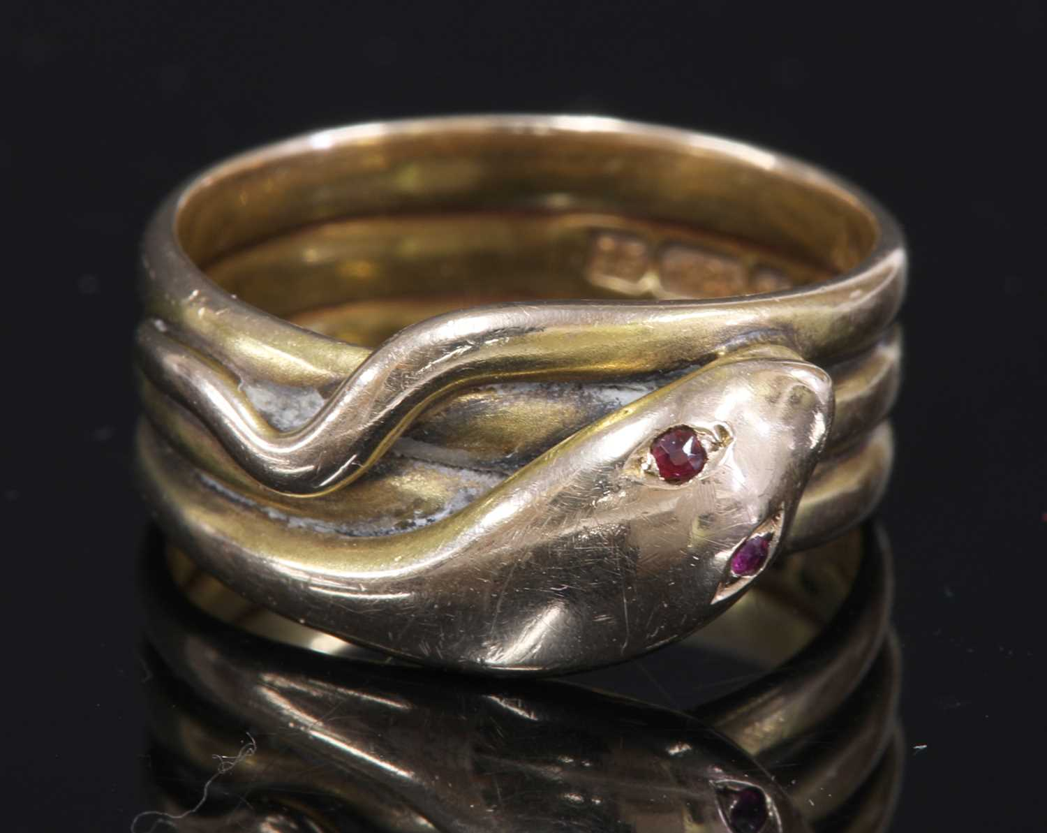 Lot 22-A Victorian 15ct gold ruby set snake or serpent ring
