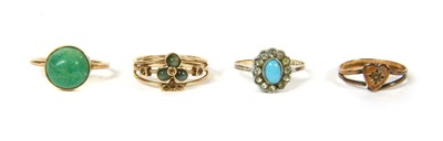Lot 13-A gold single stone amazonite ring
