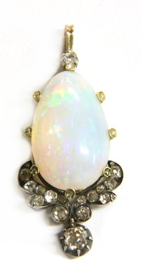 Lot 4-A gold and silver, opal and diamond pendant