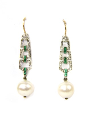 Lot 16-A pair of platinum and gold, diamond, emerald and pearl drop earrings