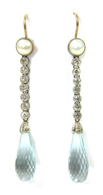 Lot 18-A pair of platinum and gold, aquamarine, diamond and pearl drop earrings