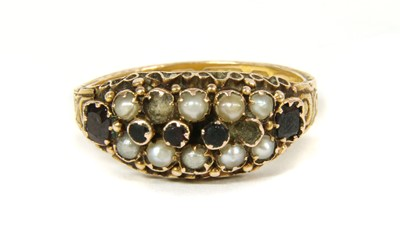 Lot 3-A Victorian 15ct gold garnet and split pearl ring
