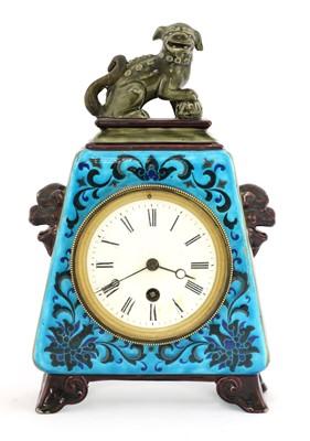 Lot 39-An Aesthetic pottery mantel clock