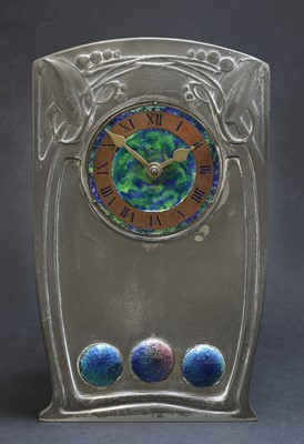 Lot 197 - A Tudric pewter and enamel clock, designed by Archibald Knox for Liberty & Co.