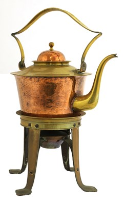 Lot 160 - A Birmingham Guild of Handicraft copper and brass kettle on stand