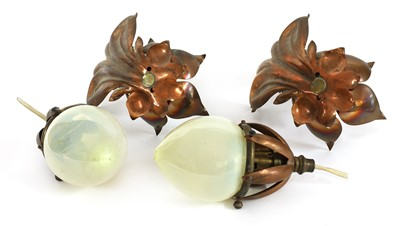Lot 118 - A pair of copper and brass hanging lights