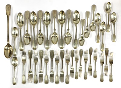 Lot 51 - A Victorian silver fiddle and thread pattern cutlery service