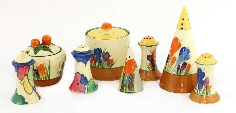 Lot 372 - A Clarice Cliff 'Blue Autumn' muffineer salt and pepper pot set