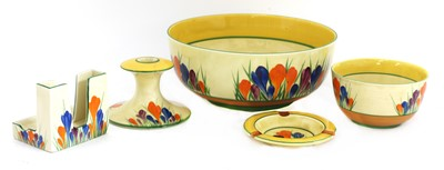 Lot 371 - A collection of Clarice Cliff 'Crocus' pattern items