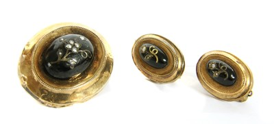Lot 3-A Continental gold split pearl and enamel brooch and earring suite