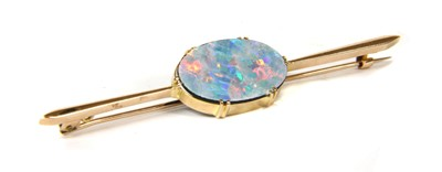 Lot 5-A gold opal doublet bar brooch