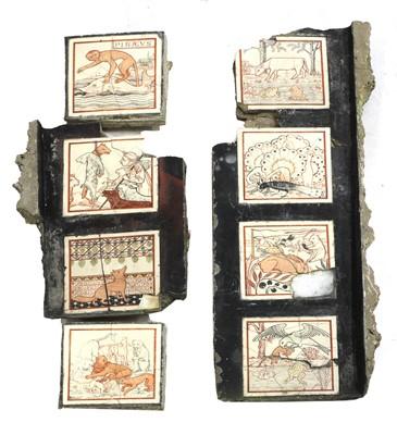 Lot 44 - Eight 'Aesop's Fables' tiles