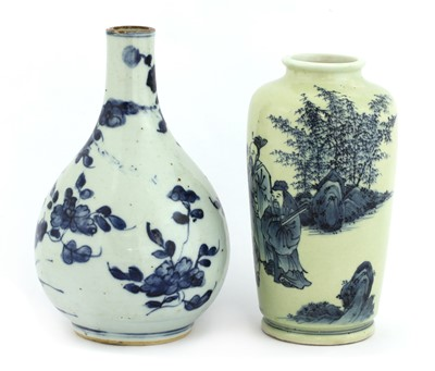 Lot 12-Two Chinese blue and white vases
