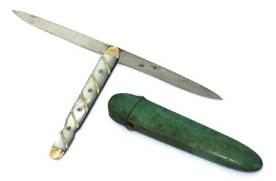 Lot 19-A French gold and mother-of-pearl fruit knife