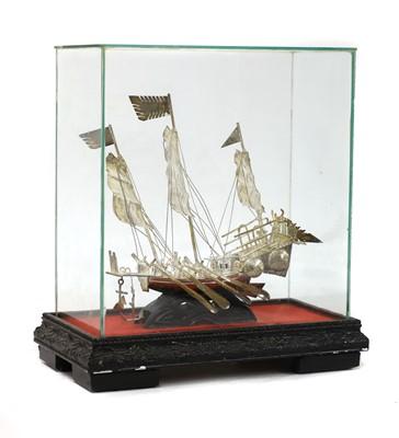 Lot 111 - Two Portuguese white metal ship models