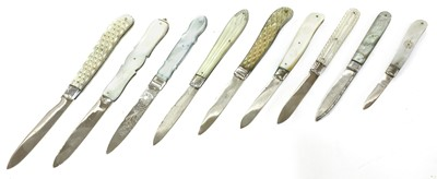 Lot 36-Nine silver and mother-of-pearl folding fruit knives
