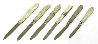 Lot 35-Six silver and mother-of-pearl folding fruit knives