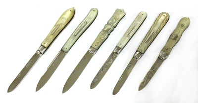 Lot 34-Six silver and mother-of-pearl folding fruit knives