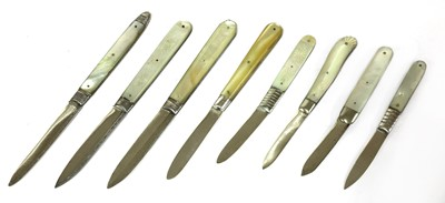 Lot 39-Eight silver and mother-of-pearl folding fruit knives