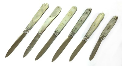 Lot 40-Six silver and mother-of-pearl folding fruit knives