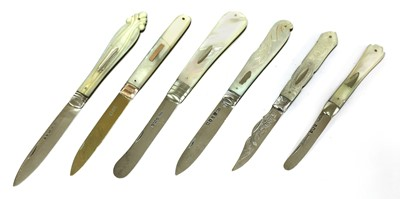 Lot 43-Six silver and mother-of-pearl folding fruit knives