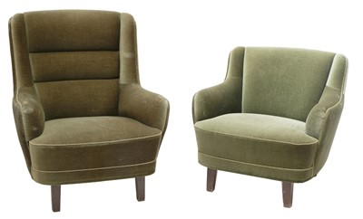 Lot 62-A pair of Danish high and low back armchairs