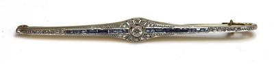 Lot 22-An Art Deco diamond, sapphire and synthetic sapphire bar brooch, c.1925