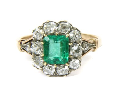 Lot 19-A Victorian gold and silver, emerald and diamond cluster ring