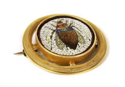 Lot 1-An Italian gold micromosaic beetle brooch, c.1870