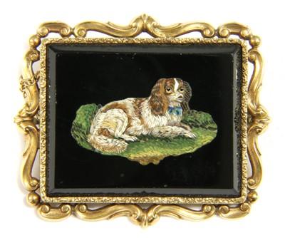 Lot 2-A Victorian gold rectangular micromosaic brooch