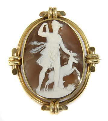 Lot 3-A Victorian gold shell cameo brooch