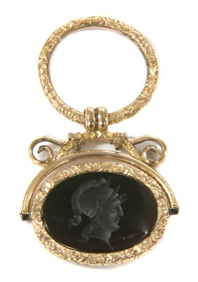 Lot 15-A Georgian gold cased hardstone swivel seal