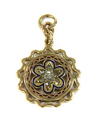 Lot 8-A gold diamond and enamel flower pendant