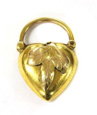 Lot 7-An Art Nouveau gold heart shaped padlock clasp