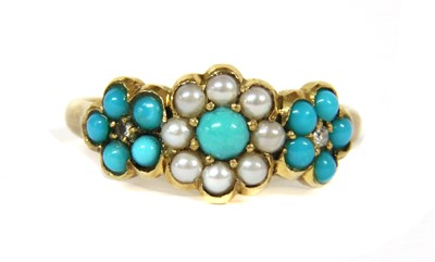 Lot 13-A Victorian gold turquoise, split pearl and diamond triple cluster ring