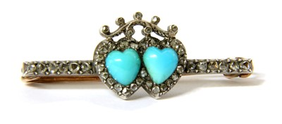 Lot 12-A Victorian gold and silver, turquoise and diamond twin heart bar brooch
