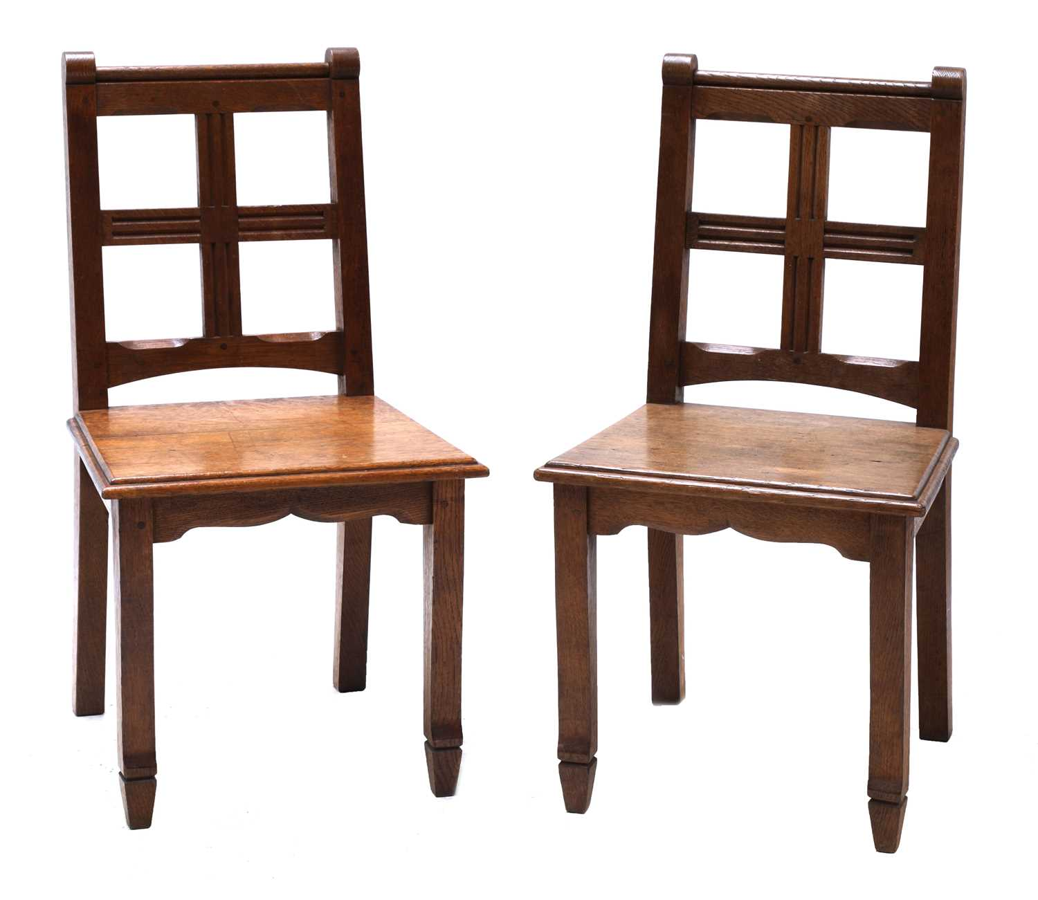 Lot 29-A pair of oak hall chairs