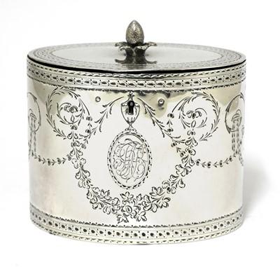 Lot 6-A George III silver oval tea caddy